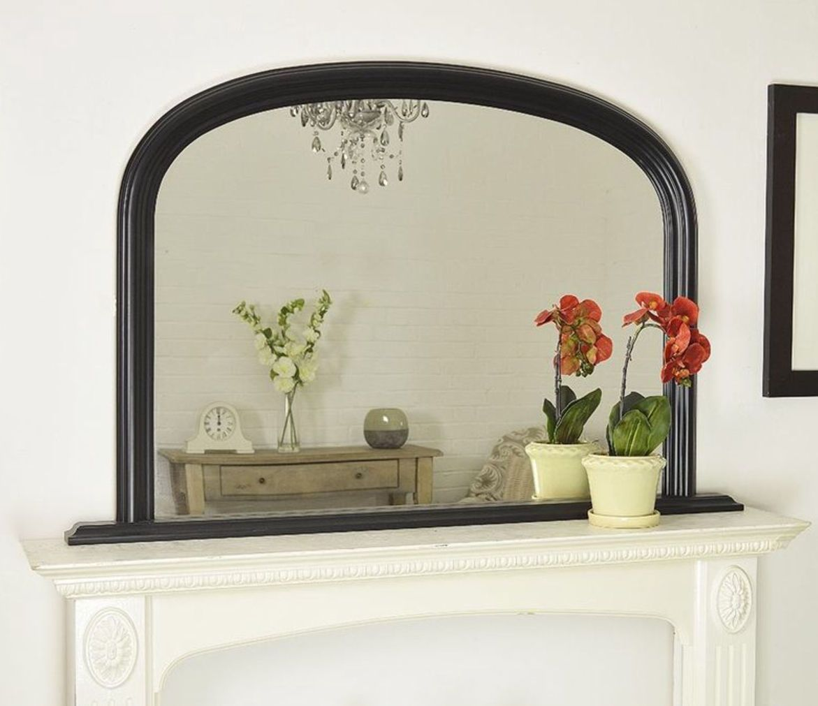 Large Black Arched Over Mantle Mirror 47x31 120cm X 79cm